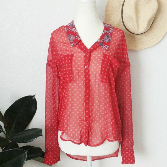 cdf565ea9 Free People Tops | Hankie Buttion Down Sheer Blouse Top | Poshmark